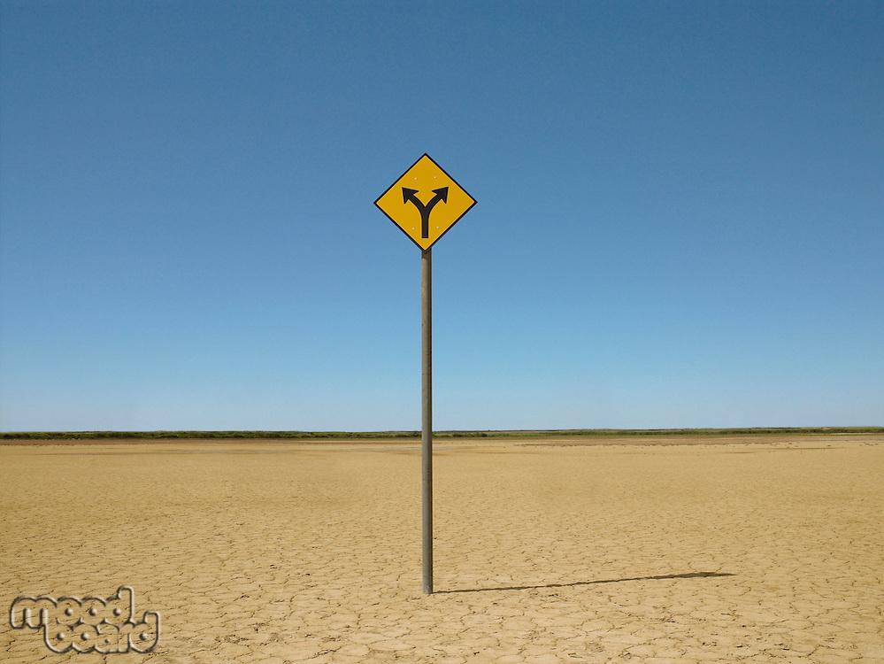 Double arrow sign on arid landscape