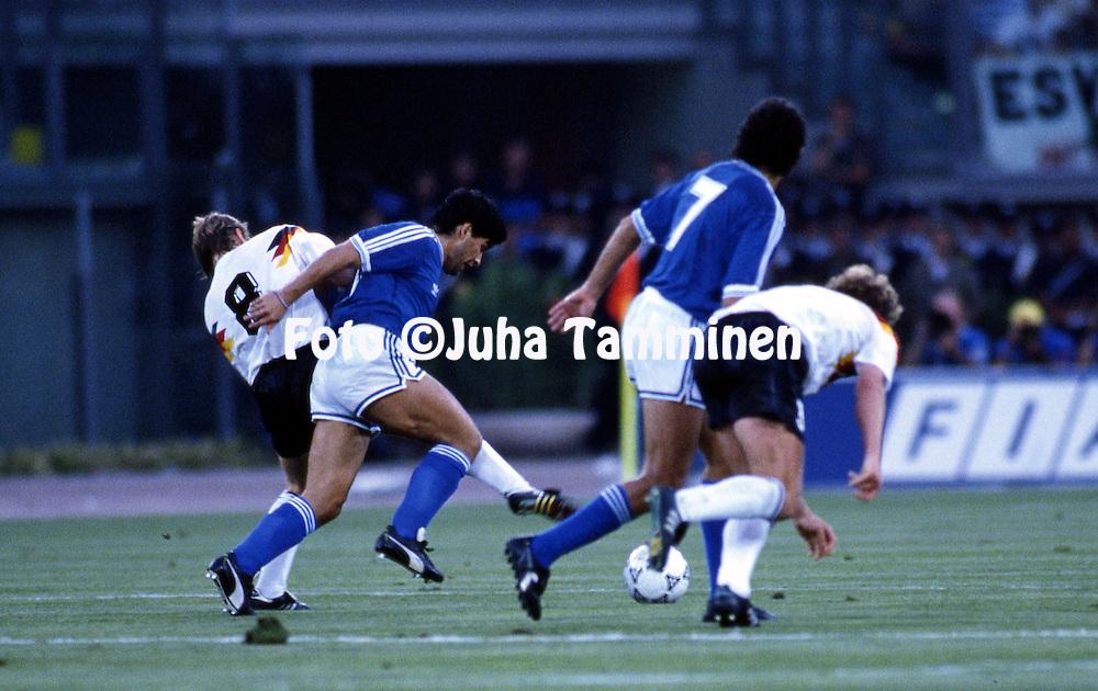 FIFA World Cup - Italia 1990<br /> Stadio Olimpico, Rome, Italy.<br /> Final Argentina v West Germany.<br /> Diego Maradona (Argentina) v Thomas H&auml;&szlig;ler (Germany).