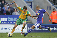 Leicester - Saturday, February 16th, 2008: Patrick Kisnorbo (R) of Leicester City and Ched Evans (L) of Norwich City during the Coca Cola Champrionship match at the Walkers Stadium, Leicester. (Pic by Mark Chapman/Focus Images)