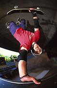 Matt Bain doing a handstand on a skate ramp, UK, 2000's