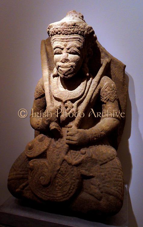 Hindu god Vishnu. Yang style Mum (14th-15th century) sandstone sculpture from Kon Tum, Vietnam