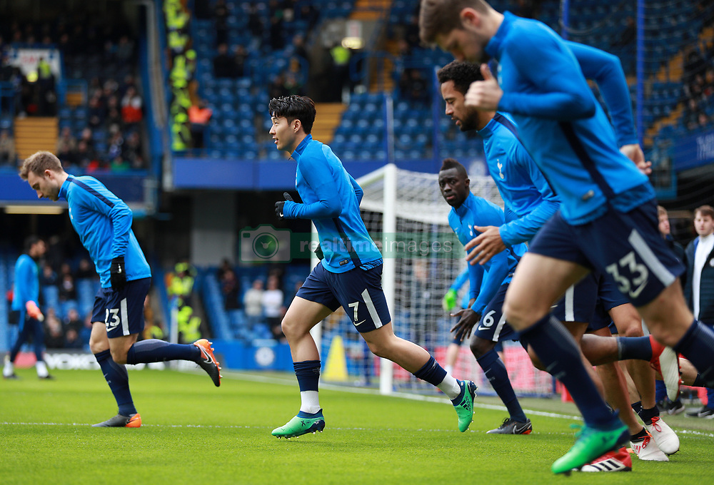 Tottenham Hotspur's Son Heung-Min warming up before the game