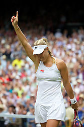 01.07.2014, All England Lawn Tennis Club, London, ENG, WTA Tour, Wimbledon, im Bild Angelique Kerber (GER) celebrates winning during the Ladies' Singles 4th Round match on day eight // during the Wimbledon Championships at the All England Lawn Tennis Club in London, Great Britain on 2014/07/01. EXPA Pictures © 2014, PhotoCredit: EXPA/ Propagandaphoto/ David Rawcliffe<br /> <br /> *****ATTENTION - OUT of ENG, GBR*****