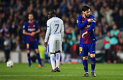 Lionel Messi of Barcelona straps the captains armband to his arm - Mandatory by-line: Matt McNulty/JMP - 14/03/2018 - FOOTBALL - Camp Nou - Barcelona, Catalonia - Barcelona v Chelsea - UEFA Champions League - Round of 16 Second Leg