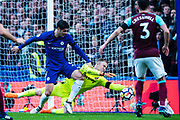 Chelsea (9) Álvaro Morata and  West Ham  (25) Joe Hart, dices to make a save from a shot during the Premier League match between Chelsea and West Ham United at Stamford Bridge, London, England on 8 April 2018. Picture by Sebastian Frej.