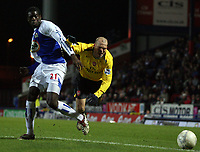 Photo: Paul Thomas.<br /> Blackburn Rovers v Arsenal. The FA Cup. 28/02/2007.<br /> <br /> Arsenal's Freddy Ljundberg (R) is sent flying by Christopher Samba.