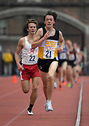 Apr 27, 2018; Philadelphia, PA, USA; Devin Hart wins the boys championship 3,000m in 8;22.24 during the 124th Penn Relays at Franklin Field.