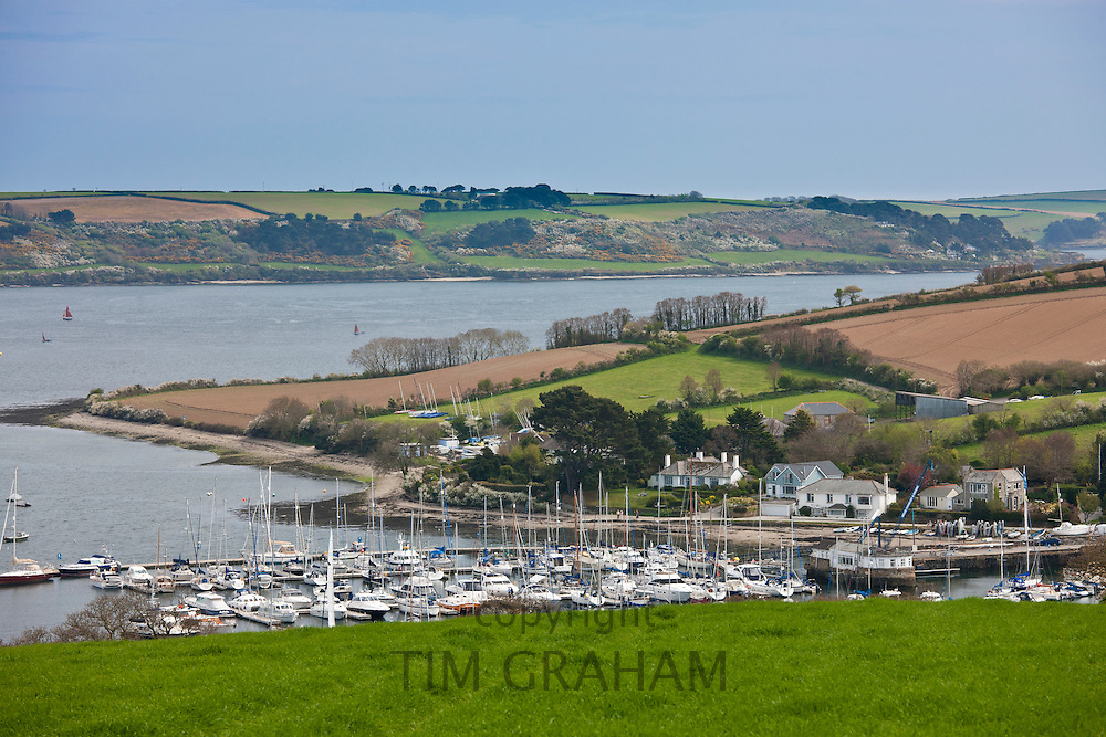 Yachting marina bay, Helford Estuary,  in Cornwall, UK