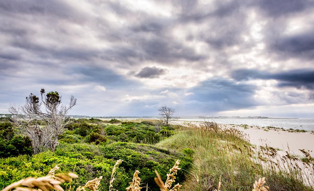East Ocean Isle Beach view looking towards Holden Beach featuring natural barrier island vegitation.