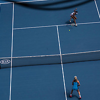 Venus Williams and CoCo Vandeweghe of the United States on day eleven of the 2017 Australian Open at Melbourne Park on January 26, 2017 in Melbourne, Australia.<br /> (Ben Solomon/Tennis Australia)
