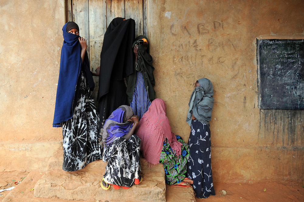 Internally displaced women who made the 500 km journey from Mogadishu to an IDP womens refuge settlement in Bulla Howa, Somalia. They had just finished an English lesson where they learned the words 'shame' and 'humiliation'