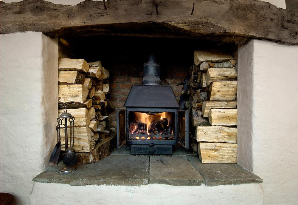 Traditional log-burning fire