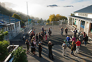 Parents gathered at Lyttelton West School as it re-opens following the 2011 Christchurch earthquake