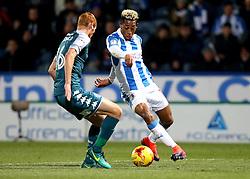Rajiv van La Parra of Huddersfield Town takes on Shaun MacDonald of Wigan Athletic - Mandatory by-line: Robbie Stephenson/JMP - 28/11/2016 - FOOTBALL - The John Smith's Stadium - Huddersfield, England - Huddersfield Town v Wigan Athletic - Sky Bet Championship