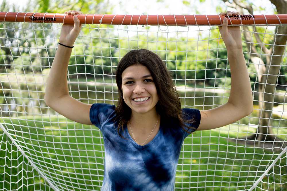 MAY 23, 2015---BOCA RATON, FLORIDA----<br /> Rachel Zietz, 14, poses with one of the Lacrosse exercise machine she designs and sells from her Gladiator Lacrosse line. Zietz and her brother are rolling in their father's entrepreneurial vein and have successful businesses.
