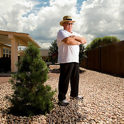 082611       Brian Leddy.Buddy Jeffries is one of many residents of Gallup that area fed up with the smell coming from the wast treatment plant on the west side of town. Jeffries, a resident of the Sky West subdivision, say the smell can be so bad that he and his family can't stand to be in there backyard.