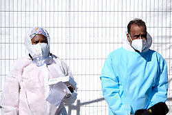 JOHANNESBURG, SOUTH AFRICA - JULY 03: Health officials at the Nasrec quarantine and isolation site on July 03, 2020 in Johanneburg, South Africa. Gauteng MEC Dr Bandile Masuku visited the NASREC Quarantine Site to inspect facilities and monitor patient care experience. The site became operational on June 15. (Photo by Gallo Images/Dino Lloyd)
