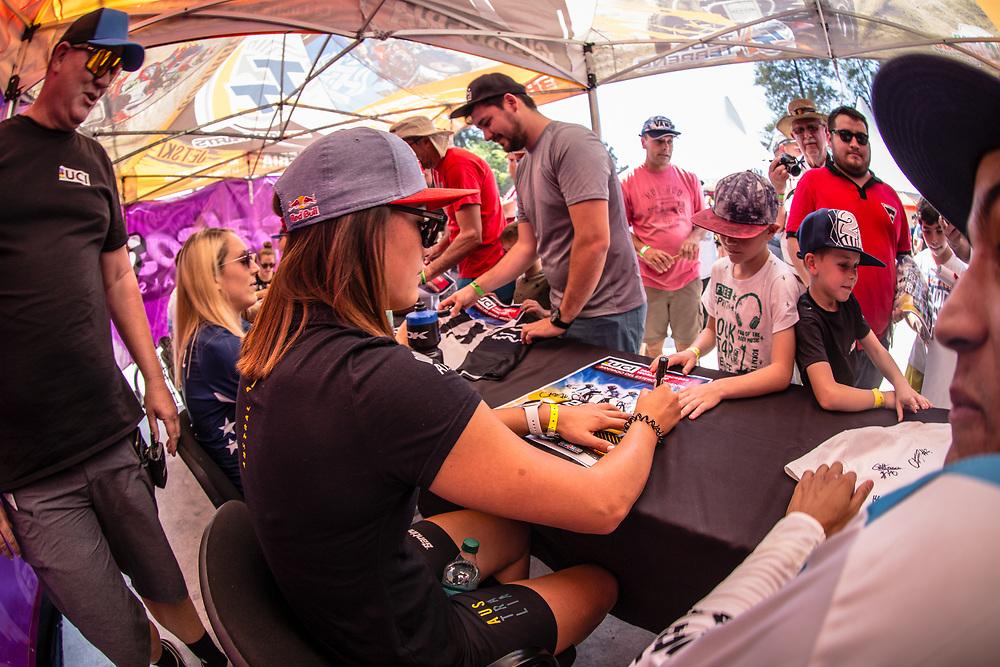 #7 (SAKAKIBARA Saya) AUS signing autographs during Round 9 of the 2019 UCI BMX Supercross World Cup in Santiago del Estero, Argentina