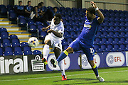 Swansea City U23 defender Tyler Reid (47) and AFC Wimbledon striker Andy Barcham (17) during the EFL Trophy match between AFC Wimbledon and U23 Swansea City at the Cherry Red Records Stadium, Kingston, England on 30 August 2016. Photo by Stuart Butcher.