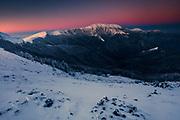 Main ridge of Balkan Mountains at sunrise in winter time