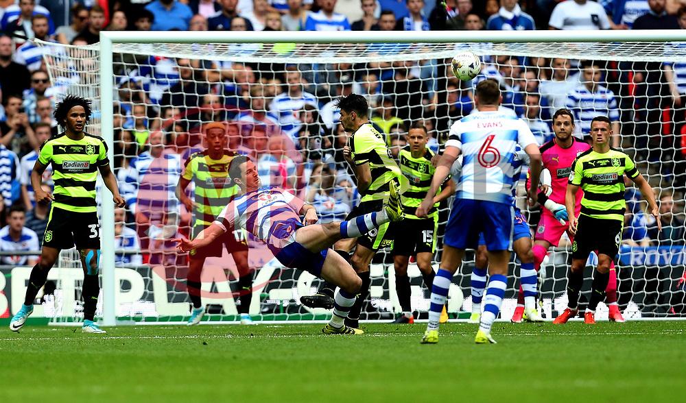 Yann Kermorgant of Reading shoots at goal - Mandatory by-line: Robbie Stephenson/JMP - 29/05/2017 - FOOTBALL - Wembley Stadium - London, England - Huddersfield Town v Reading - Sky Bet Championship Play-off Final