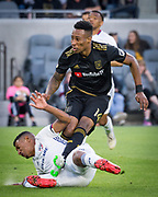 LAFC midfielder Mark-Anthony Kaye (14) is defended by FC Dallas midfielder Bryan Acosta (8) during a MLS soccer match in Los Angeles, Thursday, May 16, 2019. LAFC defeated FC Dallas 2-0.  (Ed Ruvalcaba/Image of Sport)