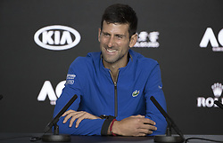 MELBOURNE, Jan. 23, 2019  Novak Djokovic of Serbia reacts during the press conference after the men's singles quarterfinal match against Kei Nishikori of Japan at the 2019 Australian Open in Melbourne, Australia, Jan. 23, 2019. (Credit Image: © Hu Jingchen/Xinhua via ZUMA Wire)
