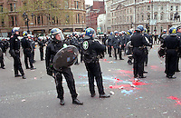 Riot police called into Trafalgar Square during mayday 2000 protest which disintegrated into rioting.