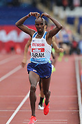 Mo Farah aka Mohamed Farah (GBR) celebrates after winning the 3,000m in 7:38.64 during the Grand Prix Birmingham in an IAAF Diamond League meet at Alexander Stadium in Birmingham, United Kingdom on Sunday, August 20, 2017. (Jiro Mochizuki/Image of Sport)
