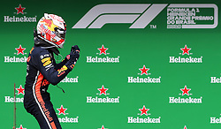 November 17, 2019, SãO Paulo, Brazil: SÃO PAULO, SP - 17.11.2019: GRANDE PRÊMIO DO BRASIL F1 2019 - Max VERSTAPPEN (NED) Aston Martin Red Bull Racing celebrates his victory during the 2019 Brazilian Grand Prix, held at the Interlagos Circuit in Sao Paulo, SP. (Credit Image: © Rodolfo Buhrer/Fotoarena via ZUMA Press)