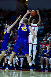 NORMAL, IL - December 31: Zach Copeland shoots the 3 while doubled on by Spencer Haldeman and Justin Dahl during a college basketball game between the ISU Redbirds and the University of Northern Iowa Panthers on December 31 2019 at Redbird Arena in Normal, IL. (Photo by Alan Look)