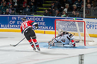 KELOWNA, CANADA - NOVEMBER 11: Daniel Wapple #35 of Vancouver Giants misses the second shot of the shootout from Justin Kirkland #23 of Kelowna Rockets on November 11, 2015 at Prospera Place in Kelowna, British Columbia, Canada.  (Photo by Marissa Baecker/Getty Images)  *** Local Caption *** Justin Kirkland; Daniel Wapple;