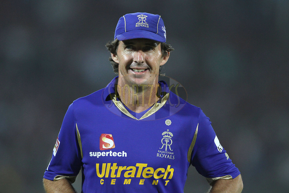 Brad Hogg of the Rajasthan Royals during match 30 of the the Indian Premier League (IPL) 2012  between The Rajasthan Royals and the Royal Challengers Bangalore held at the Sawai Mansingh Stadium in Jaipur on the 23rd April 2012..Photo by Shaun Roy/IPL/SPORTZPICS
