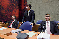 Nederland. Den Haag, 18 februari 2010.<br /> Bos, Balkenende en Rouvoet in vak K. <br /> Spoeddebat in de Tweede Kamer over de ontstane crisissituatie binnen het kabinet over Uruzgan, daags voor de val van het vierde kabinet Balkenende. Een dag later valt het kabinet. kabinetscrisis, vak kabinet, Balkenende IV, Balkenende Vier, politiek, coalitie<br />  Foto Martijn Beekman