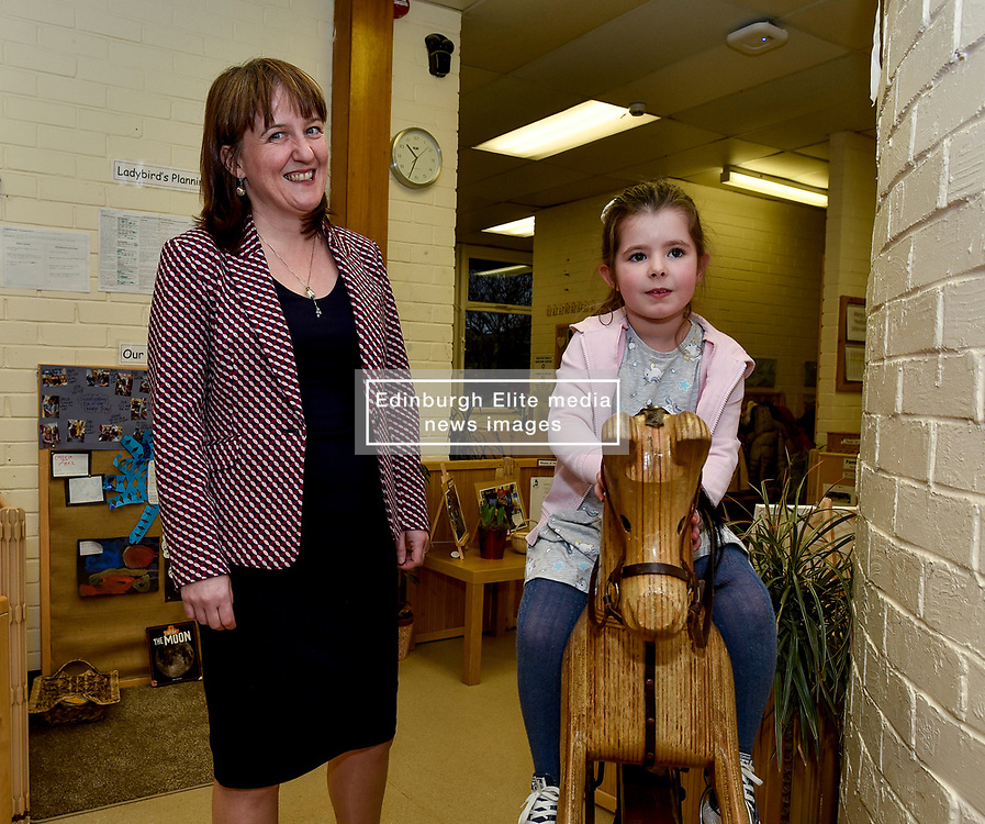 Pictured: Maree Todd meets Kayla Ewen (4) from Inverkeithing.<br /> <br /> Minister for Children and young people Maree Todd launched the Scottish Government's new national standards for childcare and early years providers on a visit to the Treetop Family Centre in Inverkeithing.<br /> <br /> © Dave Johnston / EEm