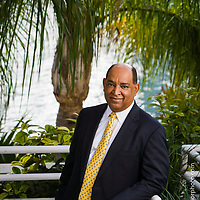 Envronmental portrait Sheldon Anderson of Northern Trust photographed at Brickell Key
