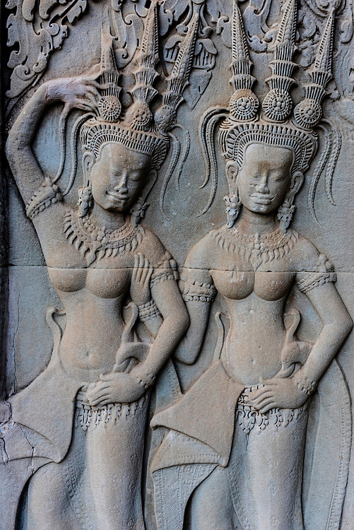 Bas-relief carving, Angkor Wat, the largest religious monument in the world (means City which is a Temple); Cambodia.