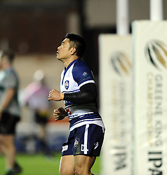 Bristol Rugby's David Lemi celebrates his try  - Photo mandatory by-line: Joe Meredith /JMP - Mobile: 07966 386802 - 06/03/2015 - SPORT - Rugby - Bristol - Ashton Gate - Bristol Rugby v Nottingham Rugby - Greene King IPA Championship