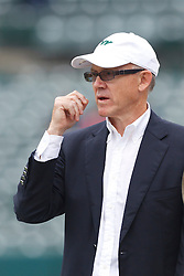 Sep 25, 2011; Oakland, CA, USA;  New York Jets owner Woody Johnson watches his team warm up before the game against the Oakland Raiders at O.co Coliseum. Oakland defeated New York 34-24.