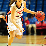 South Alabama's guard, Lauren Walker (3), drives to the goal in the first half of play in Mobile, AL. Denver leads South Alabama 21-19 at halftime...
