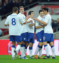 15.11.2011, Wembley Stadium, London, ENG, FSP, England (ENG) vs Schweden (SWE), im Bild England's Gareth Barry is congratulated by his team-mates // after heading the opening goal against Sweden // during the international friendlies football match between England (ENG) and Sweden (SWE) at Wembley Stadium, London, United Kingdom on 15/11/2011. EXPA Pictures © 2011, PhotoCredit: EXPA/ Sportida/ Chris Brunskill..***** ATTENTION - OUT OF ENG, GBR, UK *****