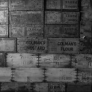 Wall made of packing crates.