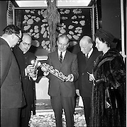 "21/01/1962.01/21/1962.The official opening by the Lord Abbott of Glenstal Abbey, Co. Limerick of an exhibition entitled ""Modern Churches in Germany"" took place at the Dublin Municipal Art Gallery on Sunday 21/01/1962. The exhibition, consisting of the architecture, stained glass and sacred vessels of modern German churches ran to the 21/02/1962. .Picture shows (L-R): Mr. Wilfred Cantwell, Vice-President of the Royal Institute of Architects of Ireland; Rt. Rev. Dom Joseph Dowdall, O.S.B., Lord Abbott of Glenstal Abbey, who opened the exhibition; Mr. James White, Curator of the Municipal Art gallery; Dr. Adolph Refferscheidt, German Ambassador to Ireland and Madame Reifferscheidt."