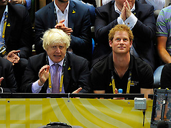 Mayor of London, Boris Johnson with Prince Harry  - Photo mandatory by-line: Joe Meredith/JMP - Mobile: 07966 386802 - 12/09/2014 - The Invictus Games - Day 2 - Wheelchair Rugby - London - Copper Box Arena