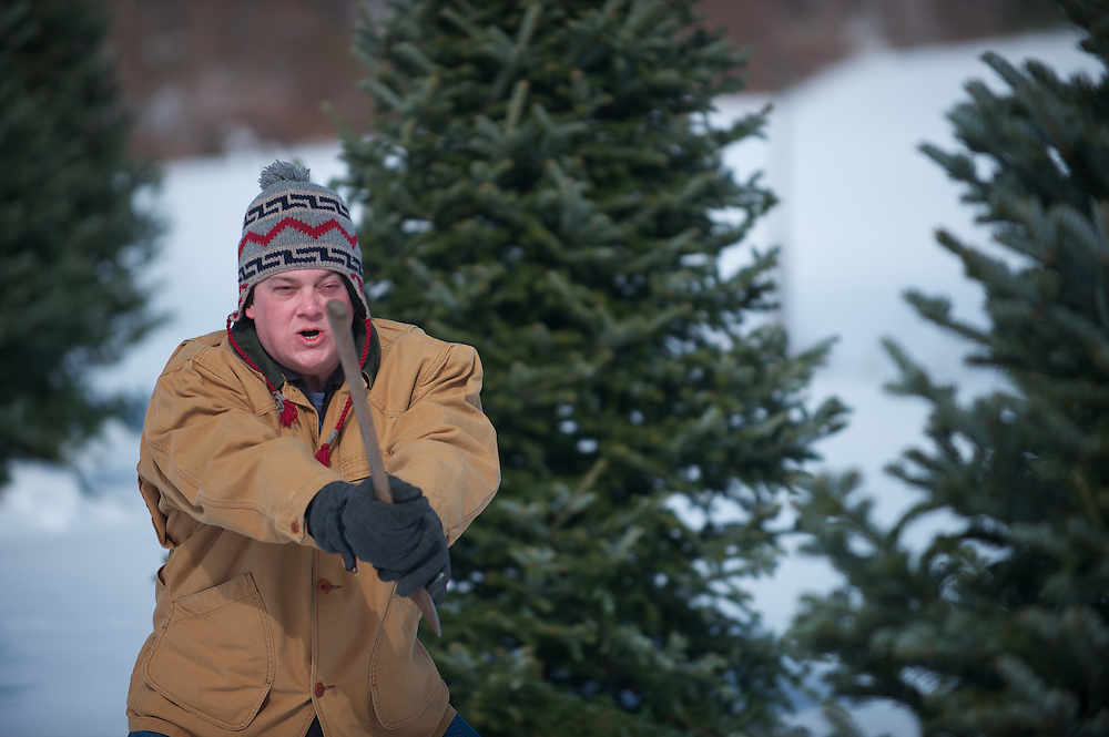 Jody Ebert gets ready for battle with his tree on independent film production Branches, directed by Chris Messineo, written and produced by Rick Hansberry