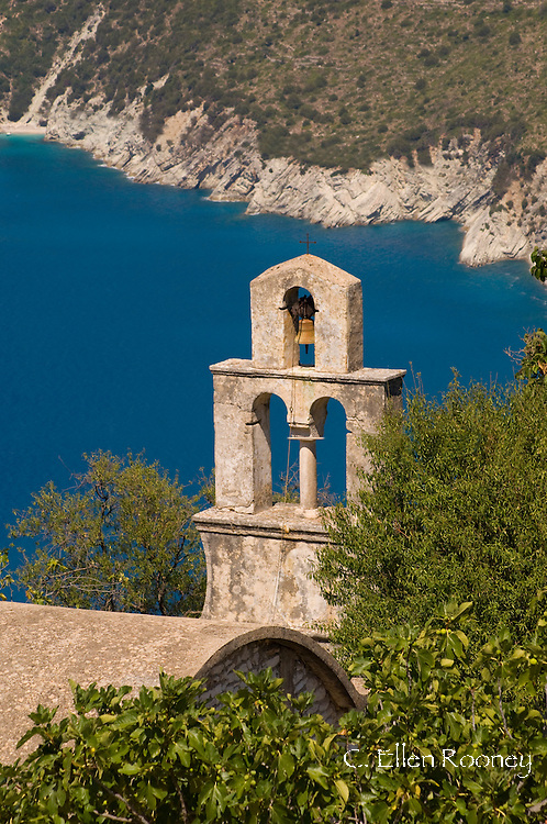 An old stone belltower in Exogi, Ithaca, The Ionian Islands, Greece