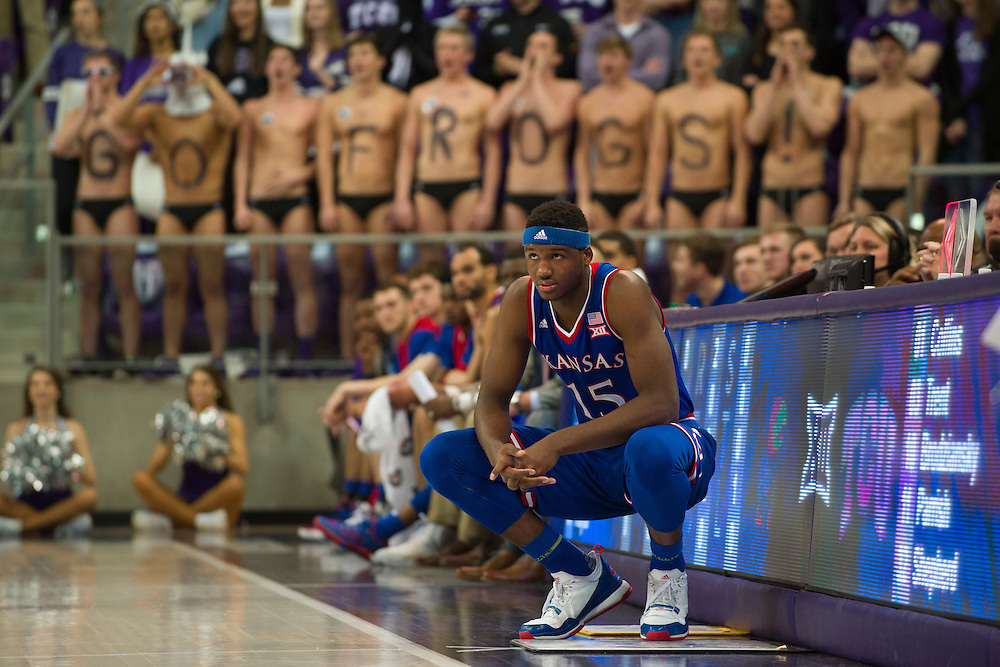 FORT WORTH, TX - FEBRUARY 6: Carlton Bragg Jr. #15 of the Kansas Jayhawks prepares to check in against the TCU Horned Frogs on February 6, 2016 at the Ed and Rae Schollmaier Arena in Fort Worth, Texas.  (Photo by Cooper Neill/Getty Images) *** Local Caption *** Carlton Bragg Jr.