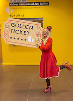 15/06/2015 REPRO FREE The Ultimate Galway International Arts Festival Golden Ticket!<br /> See every show at Galway International Arts Festival from 13 - 26 July and have yourself an extraordinary experience this July.<br /> <br /> One lucky winner will win one ticket to see each of the following 9 Theatre shows , 37 Music shows , 15 First Thought Talks, 3 Comedy shows, 4 Backstage Talks<br /> <br /> All you have to do is purchase one ticket for a Galway International Arts Festival between Monday 15 June and Sunday 22 June and you will be entered into a draw where you could win 68 tickets to everything at Galway International Arts Festival.<br /> Andrea Healy at the opening of the Galway International Arts Festival box office opening at the Galway Tourist office .  Photo:Andrew Downes XPOSURE