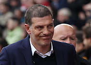 Slaven Bilic, manager of West Ham United walks into the Stadium prior to the Premier League match against Stoke City at the Bet 365 Stadium, Stoke-on-Trent.<br /> Picture by Michael Sedgwick/Focus Images Ltd +44 7900 363072<br /> 29/04/2017