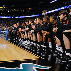 Mar 17, 2011; Tampa, FL, USA; Players on the Princeton Tigers bench watch during second half of the second round of the 2011 NCAA men's basketball tournament against the Kentucky Wildcats at the St. Pete Times Forum. Kentucky defeated Princeton 59-57.  Mandatory Credit: Derick E. Hingle